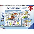 Let's Go Skiing! 3 x 49 Piece Puzzles in a Box, 3 x 49 Piece Puzzles for Kids