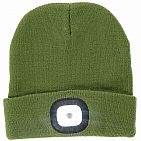 Olive Green LED Beanie - Rechargeable