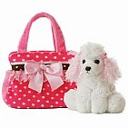 Fancy Pink Polka Dot Pet Carrier 8 Inch
