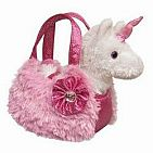 Plush Pink Pet Carrier - Unicorn