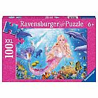 Glittery Mermaid and Dolphins 100pc Puzzle