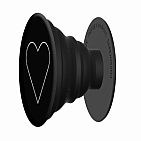 White Heart Black Pop Socket