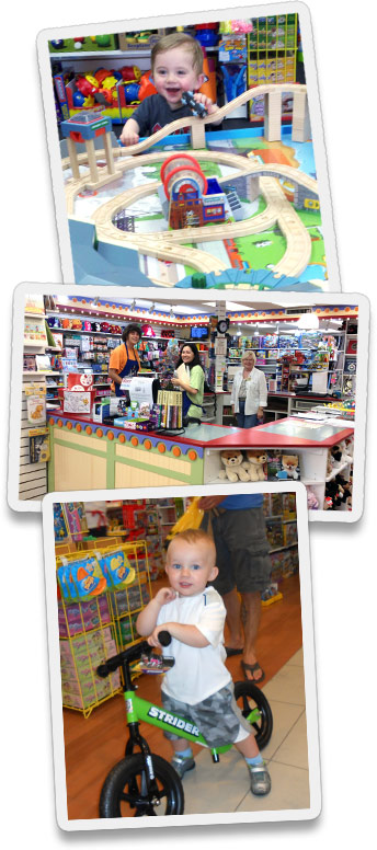 having fun at Grandrabbit's Toy Shoppe